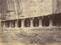 View from the north-west of the entrance to Cave III, Badami, Bijapur District